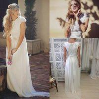 Cheap Modest Bohemian Style Boho Beach Bridal Dresses Maxi Short Sleeve Gadern Wedding Gowns Cheap 2014 Romantic Bridal Dress Sexy Summer Lace New