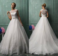 sleeve photo - 2014 Amelia Sposa Best Selling A Line Jewel Chapel Train White Organza Lace Wedding Dresses Illusion Back Wedding Gowns Bridal