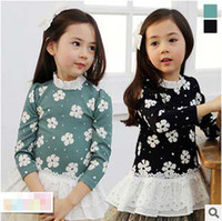 Wholesale Lovely Autumn Child Kids Clothing Girls Stand Collar Cotton Flower Long Sleeve T Shirt Shirts Lace Lower Green Dark Blue Girl Clothes K0677