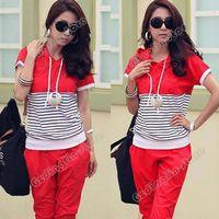 Cheap Fashion Women Hoodie Short Sleeve Casual Summer Stripe Print T-Shirt Pants Sport Sweats Suit Outfit Clothing Free Shipping 0675