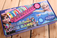 Wholesale 2014 rainbow Loom Bands set Fun DIY Loom Rubber Kit Colorful Bracelets For Children Toy Gift ems