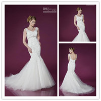 Best Selling V- Neck Mermaid Wedding Dresses Lace Applique Cr...