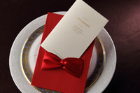 invitation letter - In Stock Chic red Cut out Folded Ribbon European Style Free Personalized Customized Printing Wedding Invitations Cards