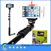 Cheap Yunteng 188 Extendable Self Portrait Selfie Stick tripod monopod for camera for gopro and with holder for iphone 5 5s and android phones