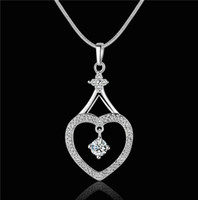 beautiful love wedding - 2014 new design silver swiss CZ diamond heart pendant necklace fashion jewelry beautiful and lovely wedding gift