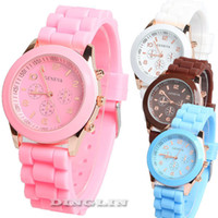 Cheap New Womens Girls Cute Rosegold Silicone Rubber Jelly Band Metal Round Quartz Wrist Watch White Black Free Shipping 8813