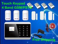 Acheter Quad lcd-Android APP LCD Smart Touch Keypad 99 Zone sans fil GSM quadri-bande, PSTN SMS Home Sécurité Voix Alarme antivol Système de composition automatique