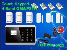 Wholesale Android APP LCD Smart Touch Keypad Wireless Zone GSM PSTN Quad Band SMS Home Security Voice Burglar Alarm System Auto Dial