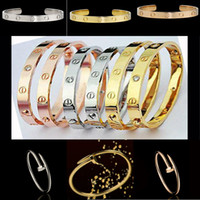 Wholesale Titanium steel bracelet rose gold and silver bracelet love bangle fashion jewelry