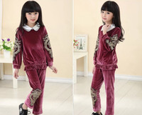 Wholesale China s wind pleuche girls casual sets long sleeve t shirt pants children suit autumn clothing kids outfits set SM335