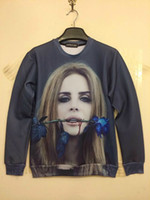 Wholesale New Female Vampire D Shirts Tee Shirt Men s O neck Long Sleeve Blue Rose Print Slim Fit Cotton Polyester Casual Men T shirt Size S XL