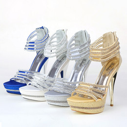 Wholesale Exquisite New Summer Wedding Shoes High Heeled Shoes Gold Shallow High Heel Bridal Shoe for Prom Dresses SA23