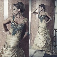 Cheap 2014 Abaya Dubai Kaftan Evening Gown Stunning Vestidos Rhinestone Beads Crystal Mermaid Long Evening Prom Dresses Dhyz 08