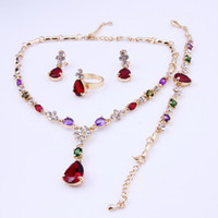 Cheap New Design High Quality Crystal Wedding Bridal Costume Jewelry Sets African Fashion 18K Gold Plated For Women Party Gifts Jewelry Sets