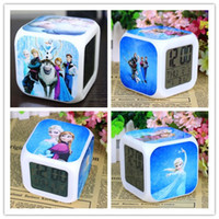 Wholesale 2014 New Arrival Frozen Clocks Elsa Anna Clocks Cartoon Clocks Change Colorful Children Girls Boys Gifts High Quality LED Alarm Clock A344