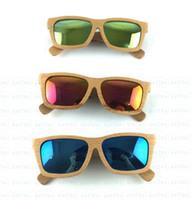 Wholesale Wood sunglasses men Handmade with Bamboo box Wooden beech glasses Mirror polarized coating revo retro ESWD2002A