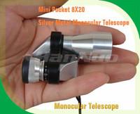 al por mayor el alcance del bolsillo-¡Venta al por mayor-OP-Venta caliente! Mini telescopio monocular del metal de plata del bolsillo 8X20, ocular con el alcance de la visión nocturna, envío libre / envío de la gota