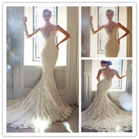 2015 New Designs Elegant V- Neck Tulle Mermaid Wedding Dresse...