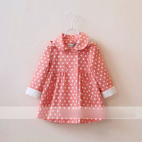 Cheap 2014 New Childrens hoodies Tench Coat lapel collar Polka Dot outwear girls coat Double-breas childrens clothing Lb2025 EMS free shipping