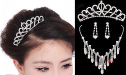 Wholesale 2014 bride Jewelery married necklace Korean deserve to act the role of wedding jewelry sets of chain diamond earrings three pieces Set BG
