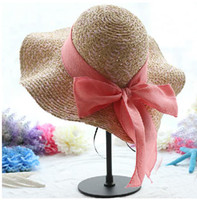 Cheap cheap in stock Fashion Style Women Summer Hats Cap floppy Wide Large Brim Summer Beach Sun Hat Straw Beach caps with bow Beach Women Caps
