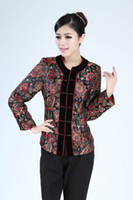Cheap Free shipping Spring 2014 hot sale velvet collar Blouse 2 color Chinese Women's Satin Polyester Jacket Coat SIze M L XL XXL XXXL 2320