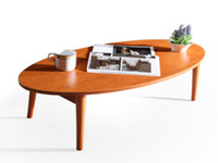cheap furniture - Modern Coffee Table Living Room Furniture Low Folding Legs Colors Walnut Cherry White Cheap Small Oval Wooden Center End Sofa Table Wood