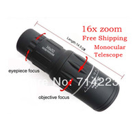 Cheap Wholesale-OP-Free Shipping Brand New HD 16x52 Monocular Telescope 16x Zoom Binoculars 66M 8000M adjustable telescope