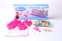 Cheap 2014 HOT SELL frozen rainbow Loom Bands set Fun DIY Loom Rubber Kit Colorful Bracelets For Children Toy Gift