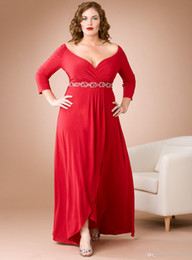 Wholesale 2014 hot sexy plus size special occasion dresses A Line V neck long sleeves Red sash beaded Prom Formal Gowns Bridesmaid Evening Dresses