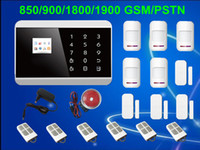 Wholesale Quad Band LCD Smart Touch Keypad Panel Wireless Zone GSM PSTN SMS Home Security Voice Burglar Alarm System Auto Dial