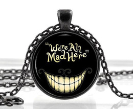 Wholesale Black Alice in Wonderland Necklace Cat Quote Pendant Fantasy Gifts Birthday