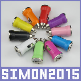 Real 5V 1A Colorful Bullet Mini USB Car Charger Universal Adapter for All Phones iPhone 4 4s 5 5s 5c 6 iPad Samsung HTC Android Pad 100pcs