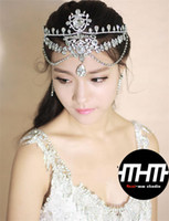 Wholesale Rhinestone Beaded Wedding Bridal Tiara Headband Elegant Clear Crystal Evening Party Headwear Bridal Hair Dress Accessories Hot sale LJW139