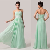 Wholesale GK New Arrival Long A Line Chiffon Dress Evening Gowns Strapless Sequins Prom Dress Formal Light Green CL6107
