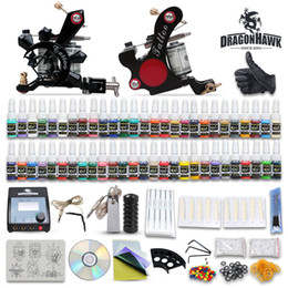 Wholesale Complete Tattoo Guns - High Quality Complete Tattoo Kits 2 Machine Guns Set Equipment 54 Colors Ink Power Supply 20 Needles Tatoo Kits DHL Free Shipping