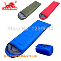 Cheap Wholesale-op-2014 NEW Envelope Sleeping Bags (180+30cm)*75CM Cool-Weather Outdoor Hiking and Camping sleeping bag for sleep Blue red green
