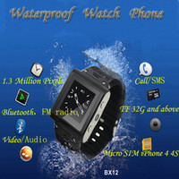 Cheap W838 Waterproof Watch Phone MTK6253 2GB 1.5 inch Quad Band Single SIM Card with Camera Bluetooth FM JAVA Unlock Watch Mobile Cell Phone