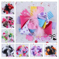 Wholesale Newest europe style girl hair clips Colorful baby Barrettes feather and ribbon bow kids girl hair children brooches color