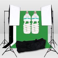 photo box - photography photo Studio Soft Box Lighting Kit Continous Muslin Backdrops Photography Stand Kit