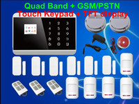 Wholesale Wireless Touch Keypad LCD TFT display GSM PSTN SMS Home Security Voice Burglar Android Fire Alarm Sensor