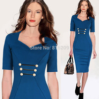 Wholesale Dropshipping Newest Women Classic Blue Elegant V Neck Button Bodycon Stretchy Cotton Blend Knee Length Pencil Dresses S XXL