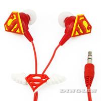 Wholesale Classic Superman Style Cute Kids Boys Cool Gift Headphone Earphone Earbud mm In Ear Red E47