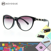 Wholesale AEVOGUE with Original case Cat Eye brand vintage Sunglasses women Outdoor eyewear Glasses Chain temple Leather trimmings AE0138