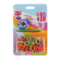 Cheap 9 colors Rainbow Loom Watch Kit Candy Watch 300 Bands 2 Mini Hooks S Clip Diy Craft New Design Loom Watch DIY Bracelet loom