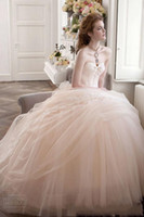 Wholesale 2014 Best Selling Champagne Vintage Lace Appliques Tulle Wedding Dresses Sweetheart Neck Beaded Ball Grown Sheer Organza Floor Length Gowns