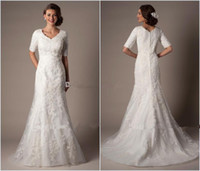 Reference Images t back - Modest Custom Made A Line Wedding Dresses Long Bridal Gown V Neck With Half Sleeves Lace Applique on Tulle Satin Lining Zipper Back