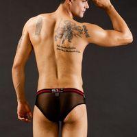 Cheap sheer breifs men sexy jockstrap Men's lace brief transparent sex gay male shorts mesh panties see through underwear