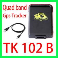 GPS Tracker Uned/Generic 12V~24V Wholesale - Quad band Spy Vehicle Realtime GPS GSM GPRS Car Vehicle Tracker TK102B gps tracker