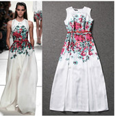 Wholesale 2014 The new spring and summer floral print dress hot sale party dress in Eurpoean and Amercian women runway dress